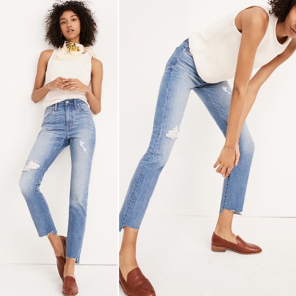 Madewell High Rise Slim Boyjean Lita Wash Step Hem